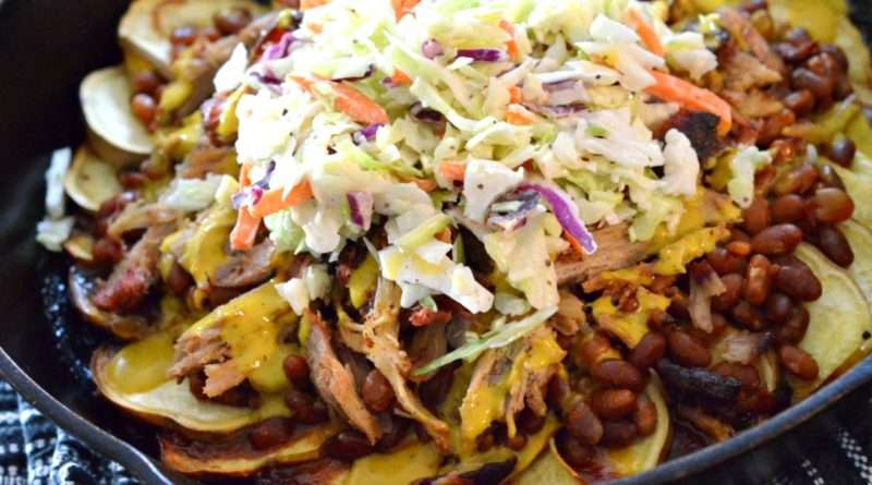 Skillet Sweet Potato-Pulled Pork Nachos